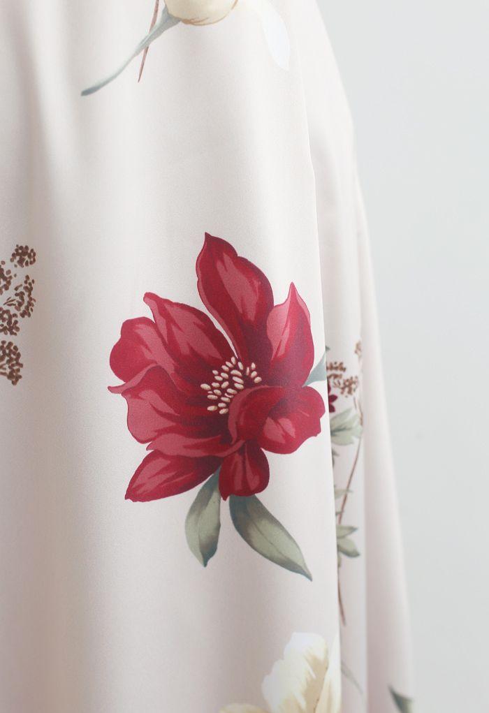 Blumendruckter A-Linien-Rock mit hoher Taille
