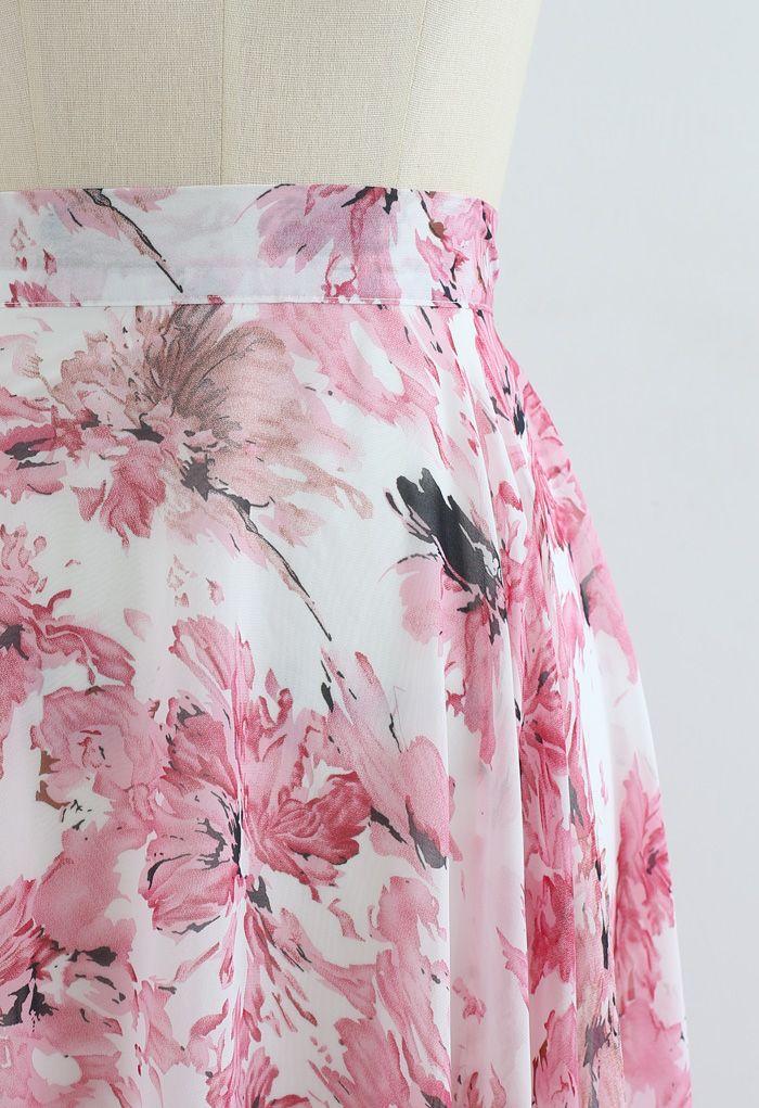 Zeitloser Lieblings-Maxirock aus Blumen-Chiffon in Pink