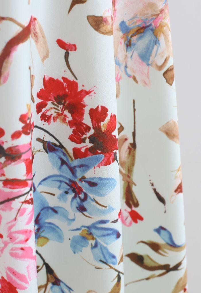Wunderschönes Midikleid mit Neckholder und Blumendruck in Pink