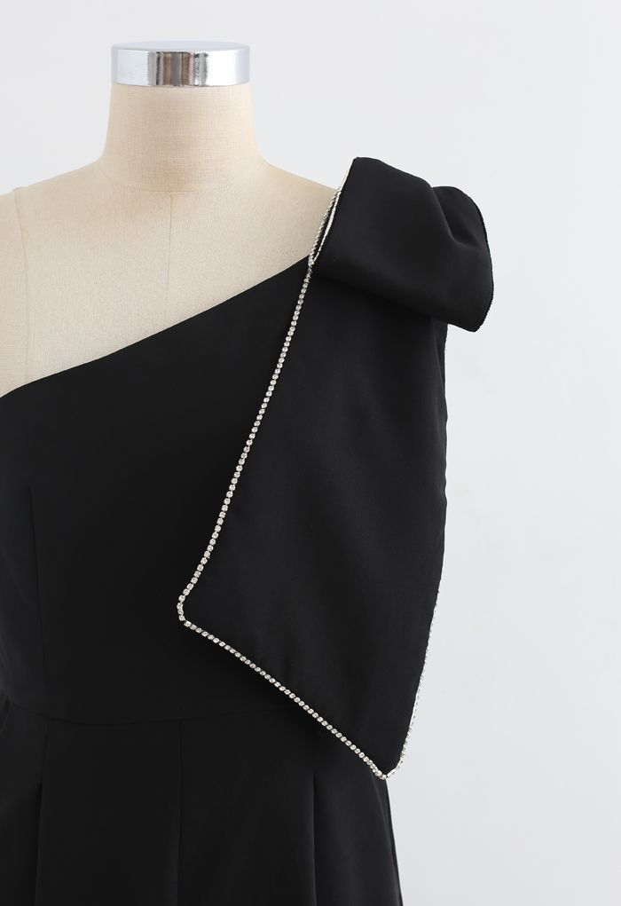 Bow Strap Oblique One-Shoulder-Overall