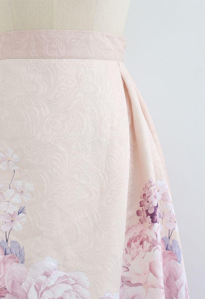 Geprägter Midirock mit Lavendel-Pfingstrosen-Print
