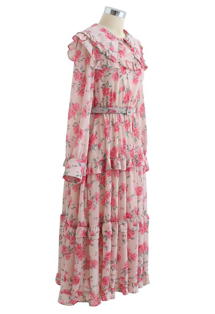 Chiffon-Kleid mit Rosendruck und Gürtel in Pink