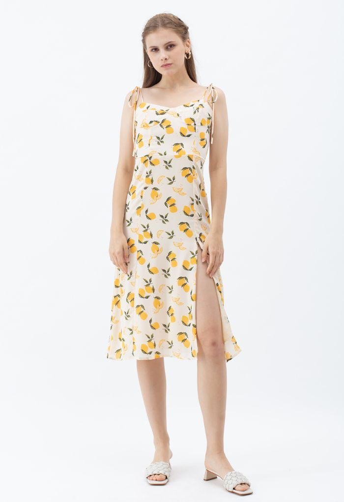 Lemon Print Sweetheart Self-Tie Cami-Kleid