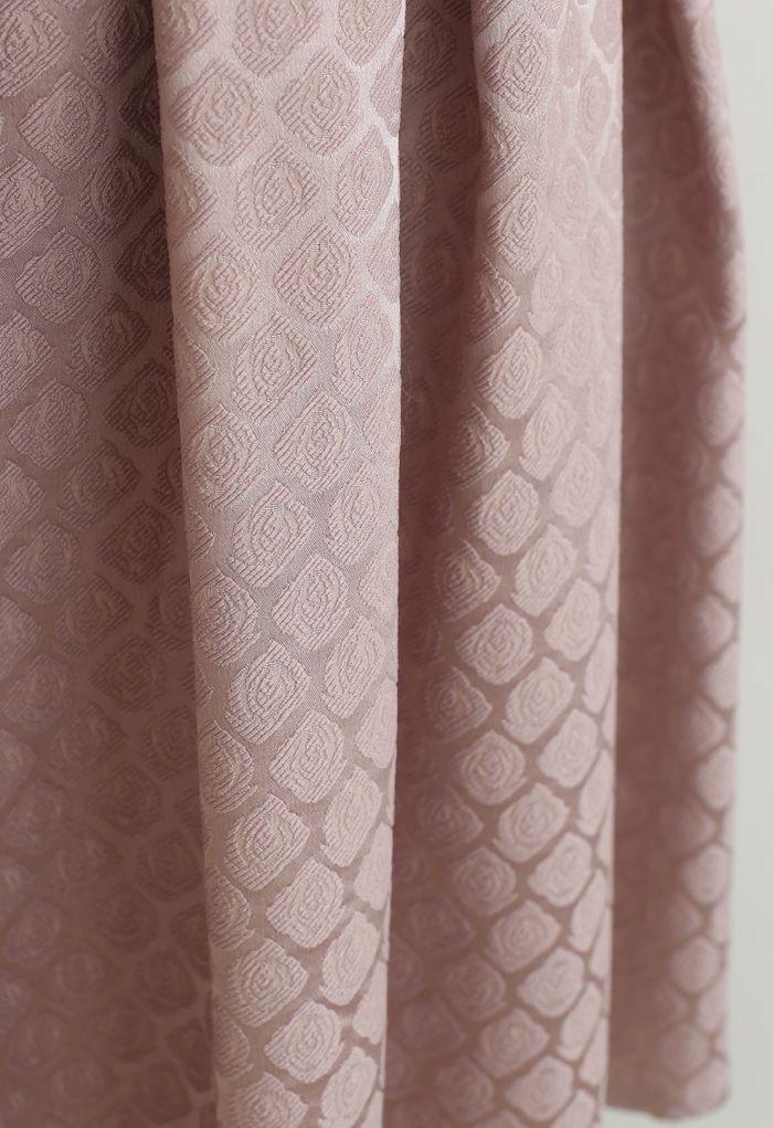 Geprägter Rose Plissee Midirock in Dusty Pink