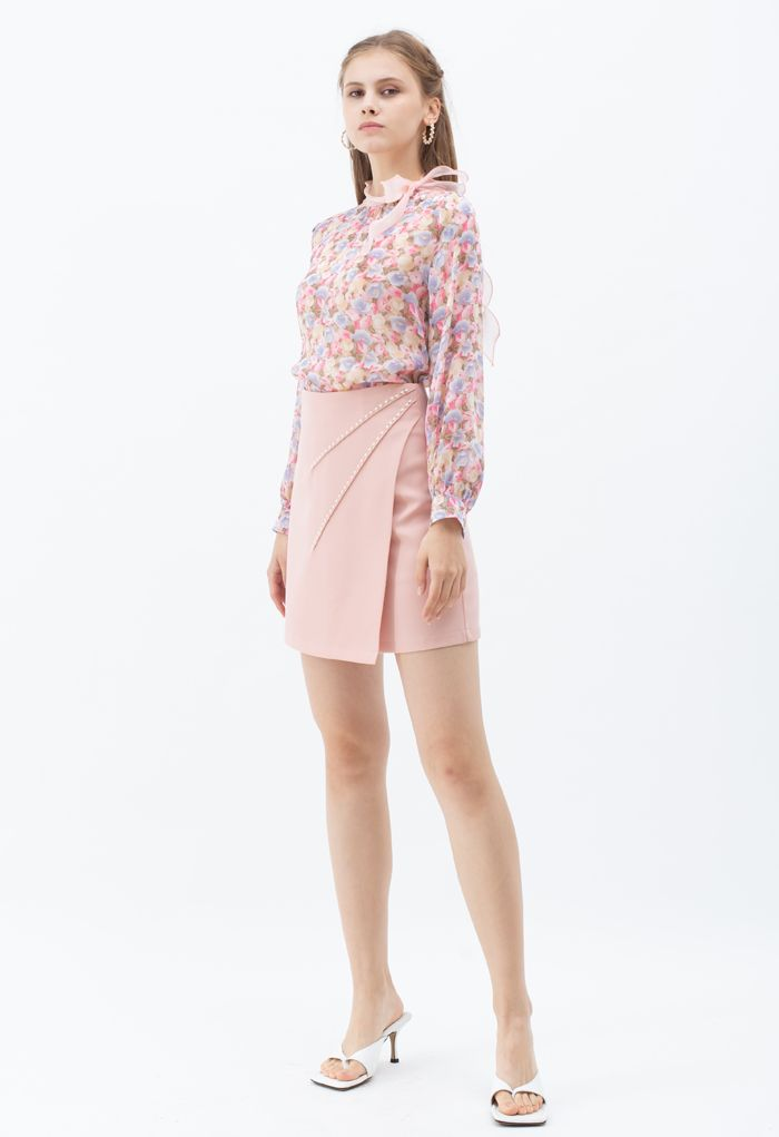 Perlen verzierter Flap Minirock in Pink