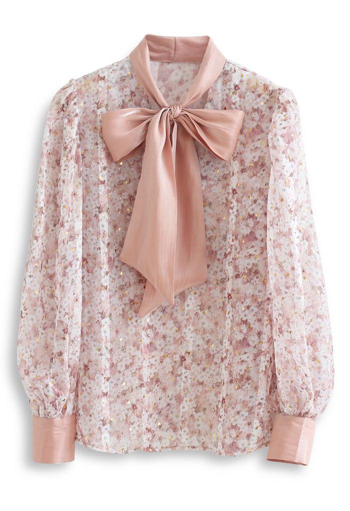 Bogenhals Floret Puff Ärmel Organza Shirt in Nude Pink