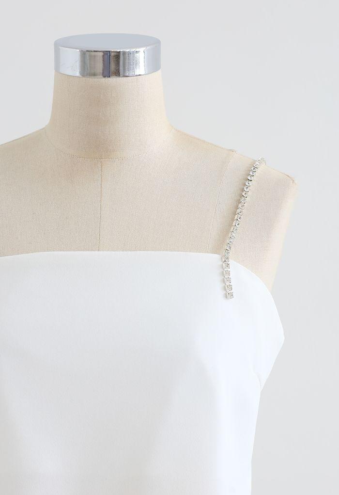 Crystal Straps Cami Trägershirt in Weiß