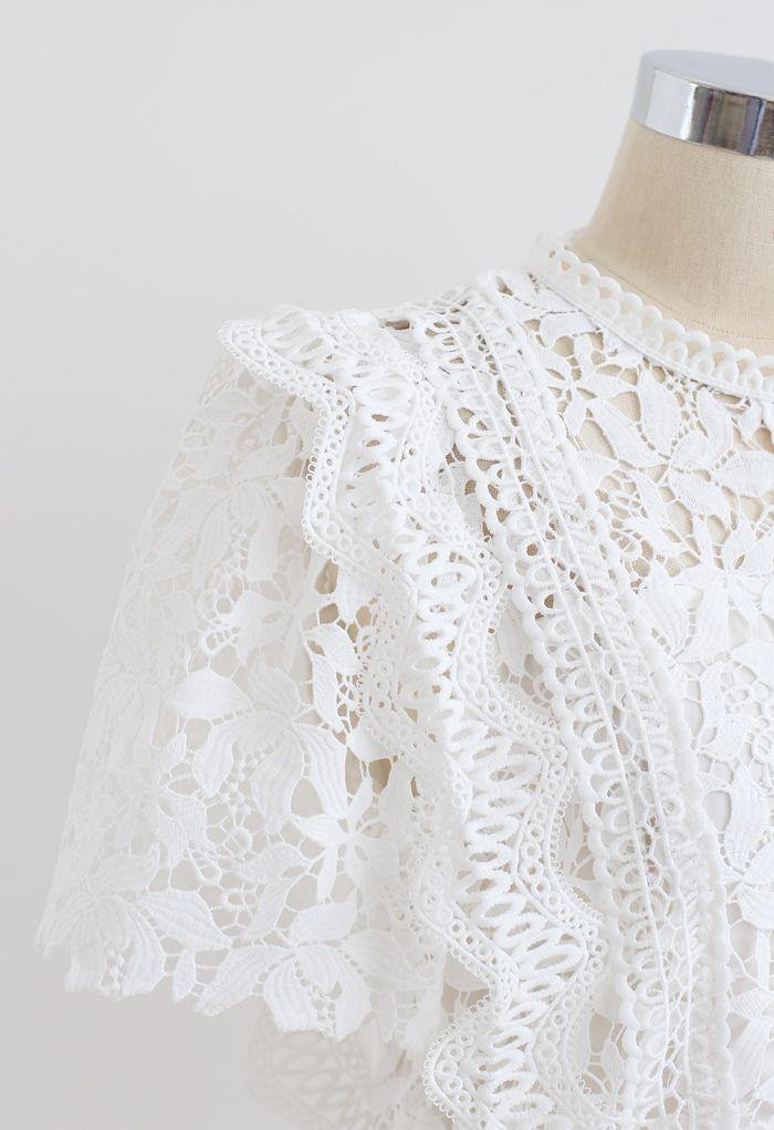 Lush Leaves Crochet Top in Weiß