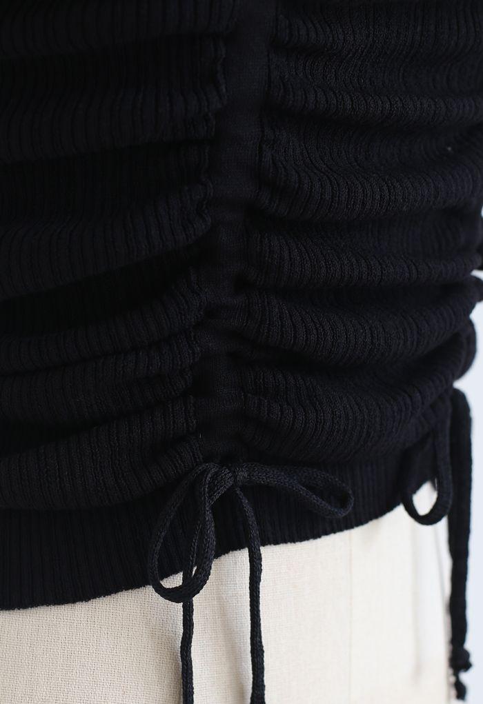 Gerafftes Strickoberteil mit eckigem Kordelzug und quadratischem Ausschnitt in Schwarz