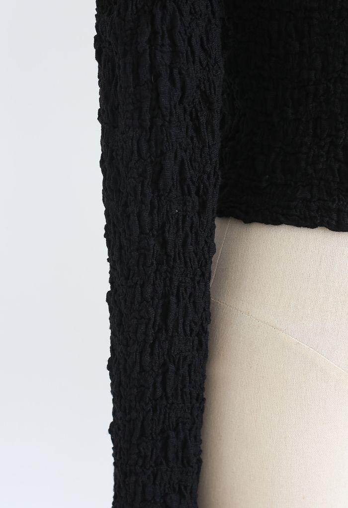 Geprägtes Puffärmeln mit quadratischem Halsausschnitt, Crop Top in Schwarz