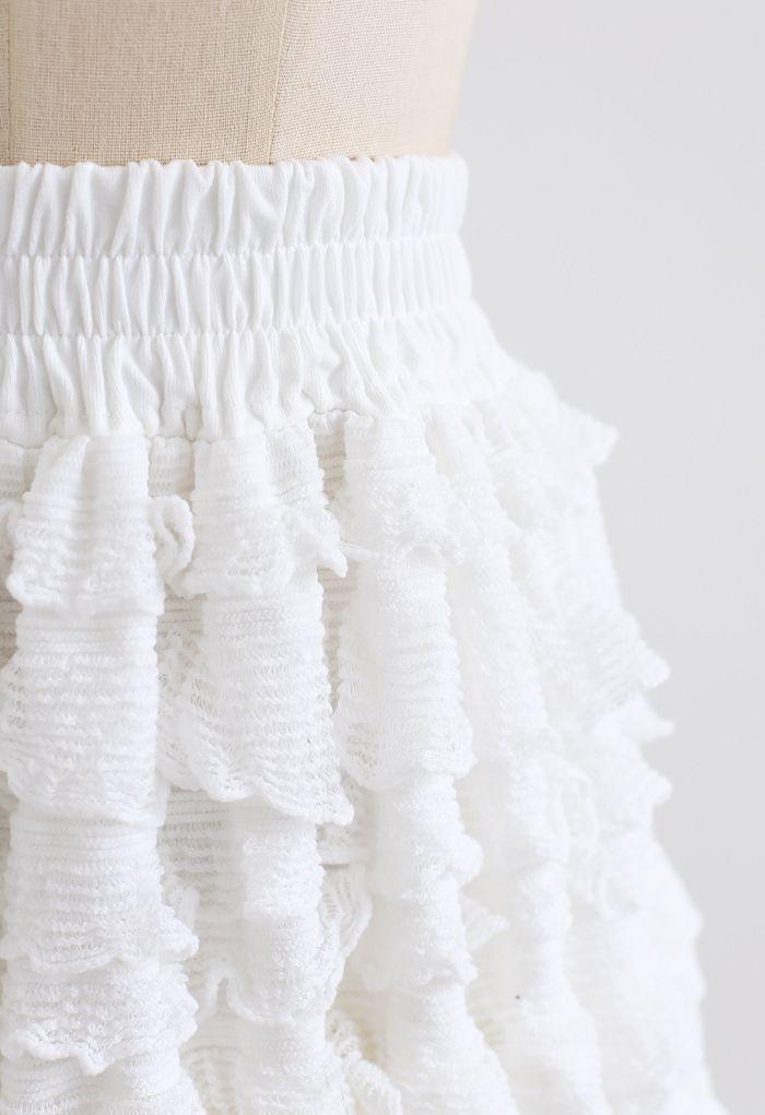 Tiered Ripple Padded Cardigan und Rock Set in Weiß