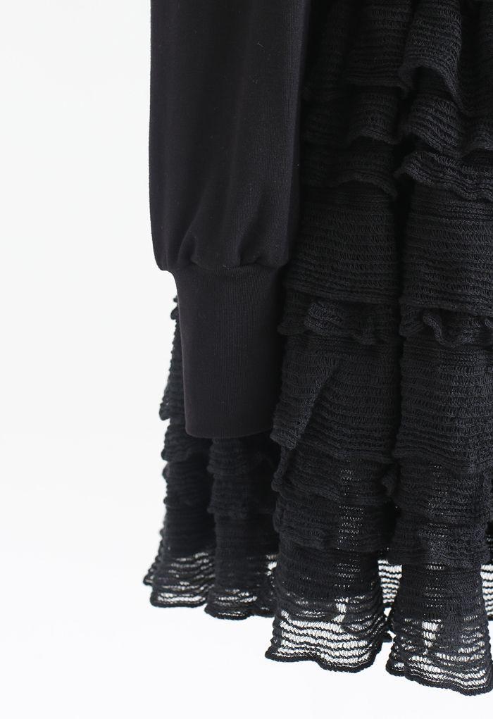 Tiered Ripple Padded Cardigan und Rock Set in Schwarz