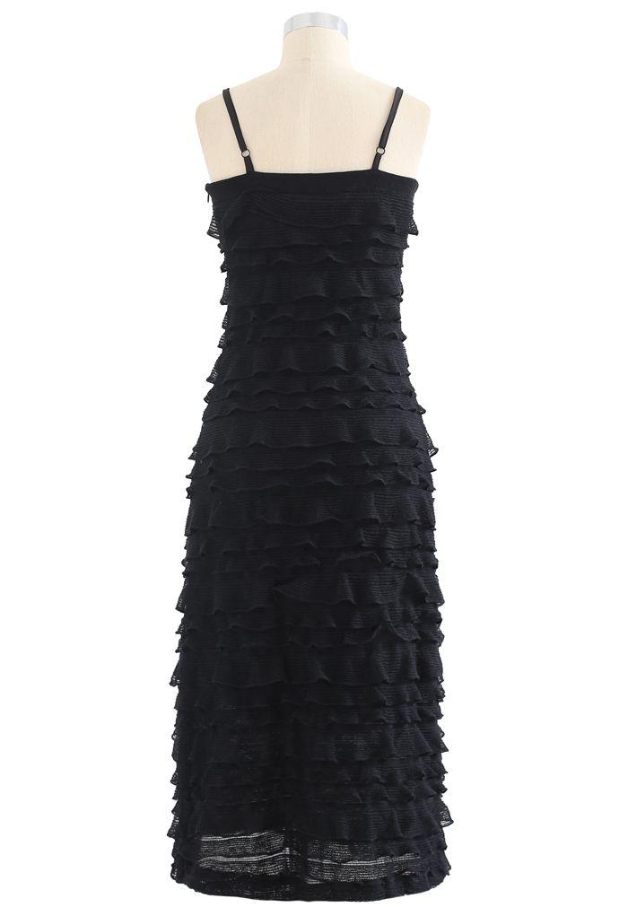 Tiered Ripple Knit Cami Midi Kleid in Schwarz