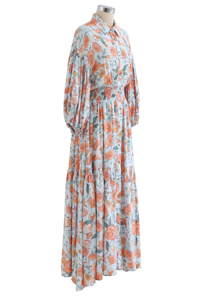 Blossom Moment Bubble Sleeves Button Down Maxikleid in Hellblau