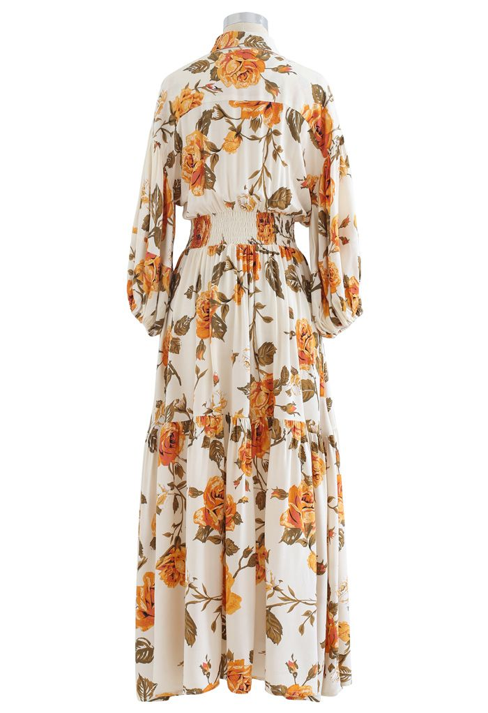 Blossom Moment Bubble Sleeves Button Down Maxikleid in Creme