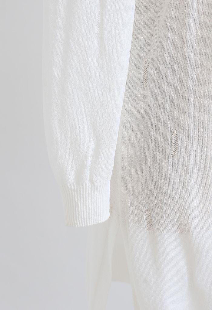 Leichte Longline-Strickjacke mit Schlitz und Schlitz am Saum in Weiß