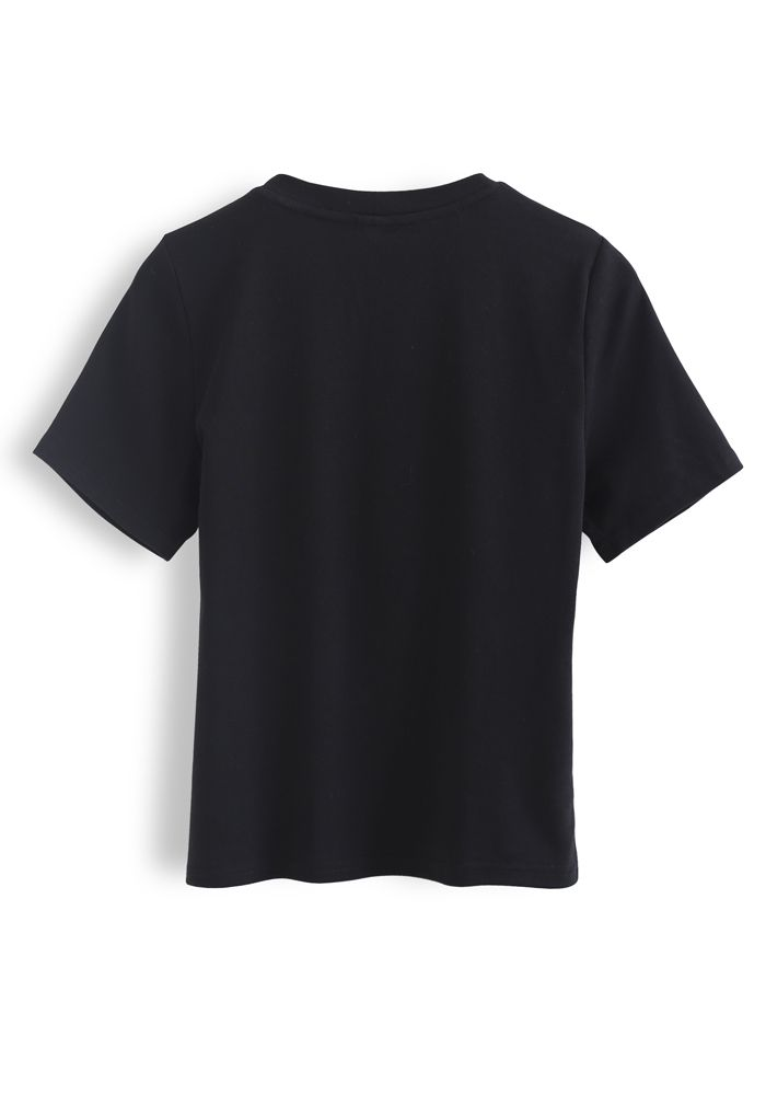 Front Cutout Pearls Fitted T-Shirt in Schwarz