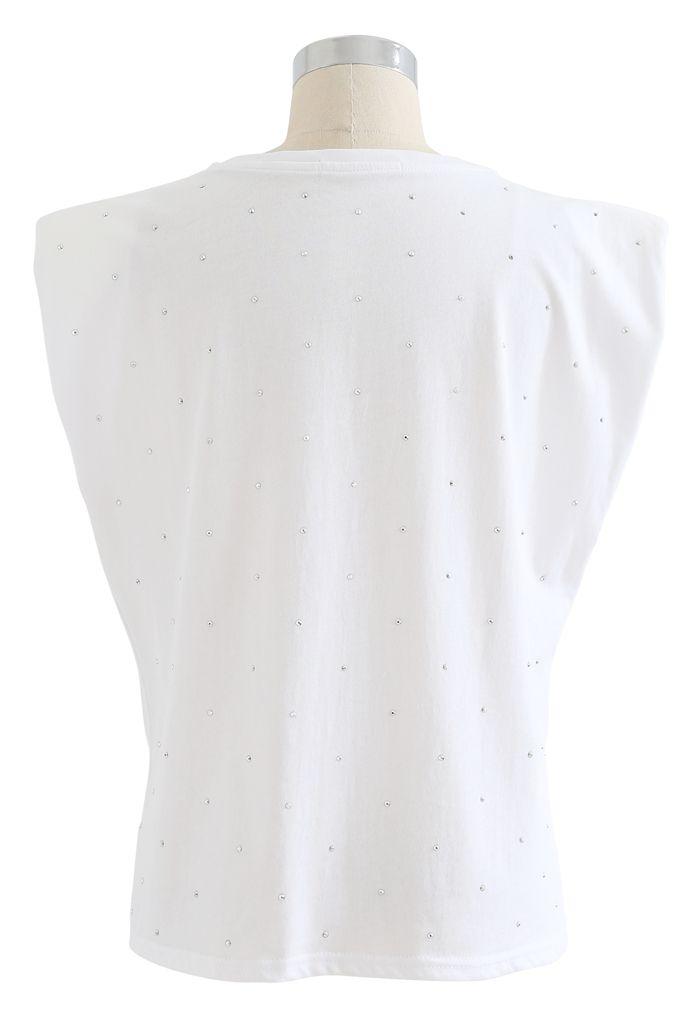 Flackerndes gepolstertes ärmelloses Schulteroberteil in Weiß