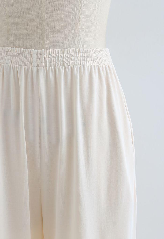 Normcore Seitentaschen Lounge Pants in Creme