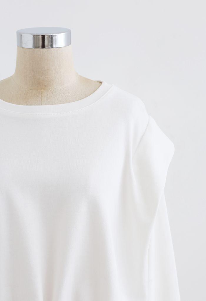 Verstellbares übergroßes Crop-Sweatshirt in Weiß