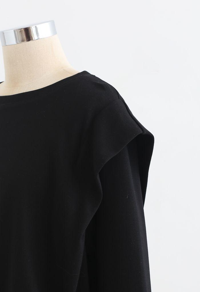 Verstellbares übergroßes Crop-Sweatshirt in Schwarz
