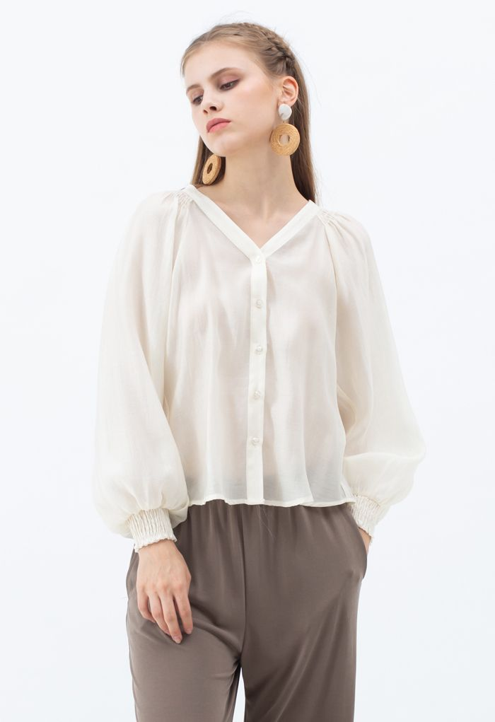 Hi-Lo Hem Buttoned Semi-Sheer Top in Creme