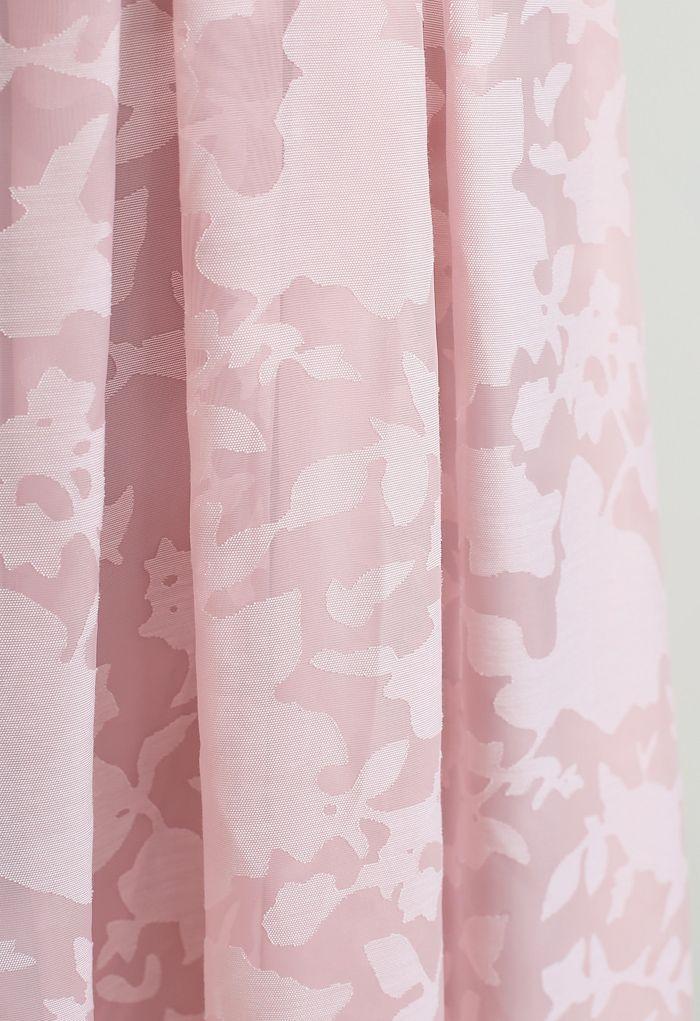 Flower Shadow Organza Faltenrock in Pink