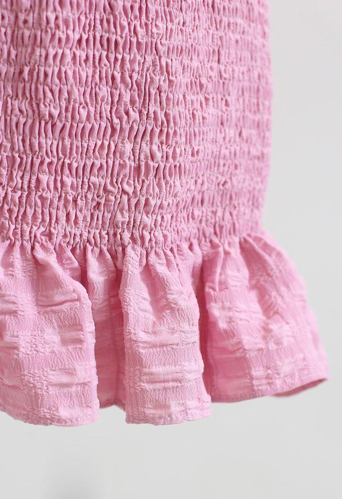 Rüschensaum Full Shirring Pencil Rock in Pink