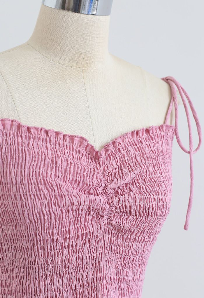 Geraffte vordere Shirring Crop Cami Top in Pink