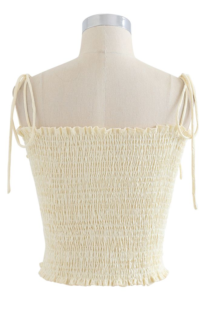 Geraffte vordere Shirring Crop Cami Top in Creme