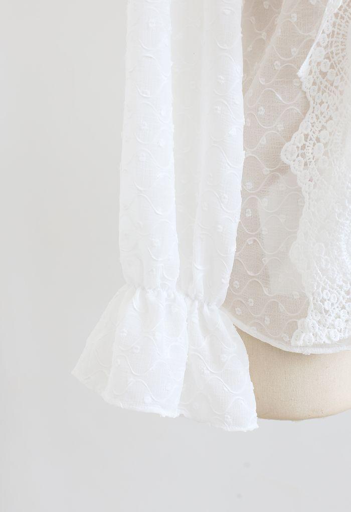 Tie Neck Flock Dots Buttoned Sheer Top in Weiß