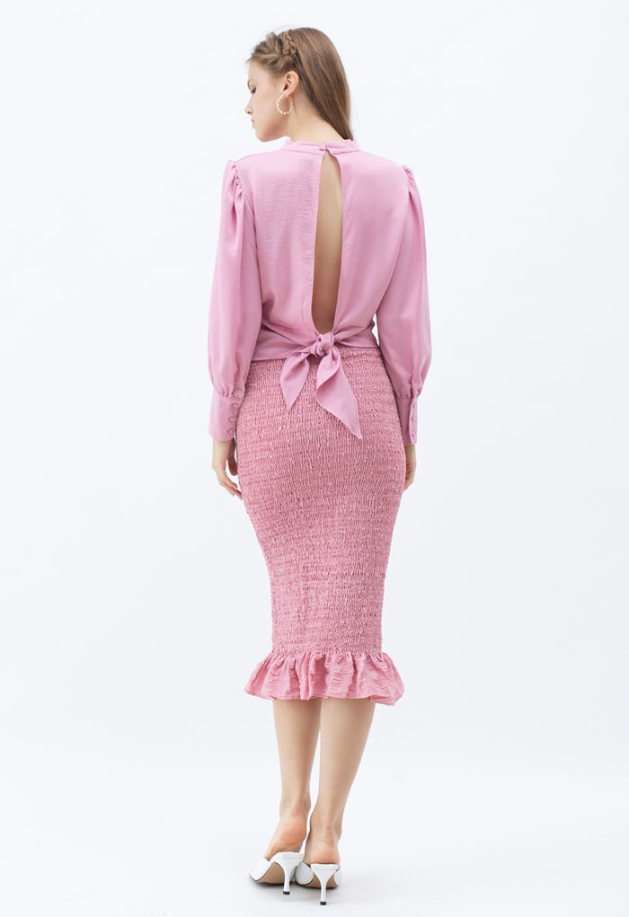 Geknotete Taille Open Back Crop Top in Pink
