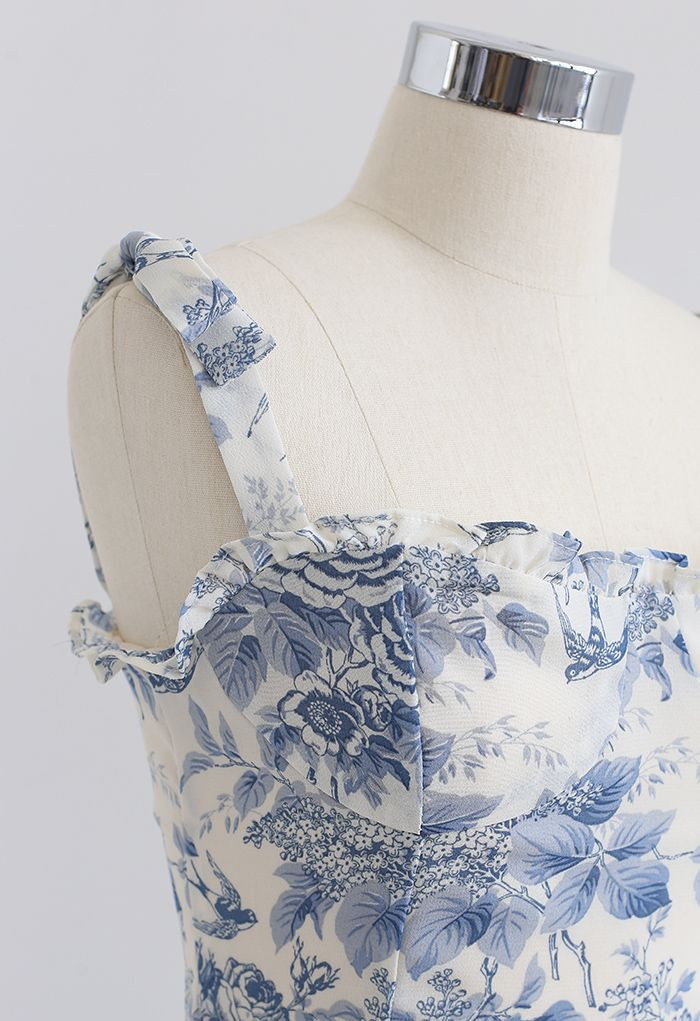 Swallow und Rose bedrucktes Midikleid mit Krawattenriemen