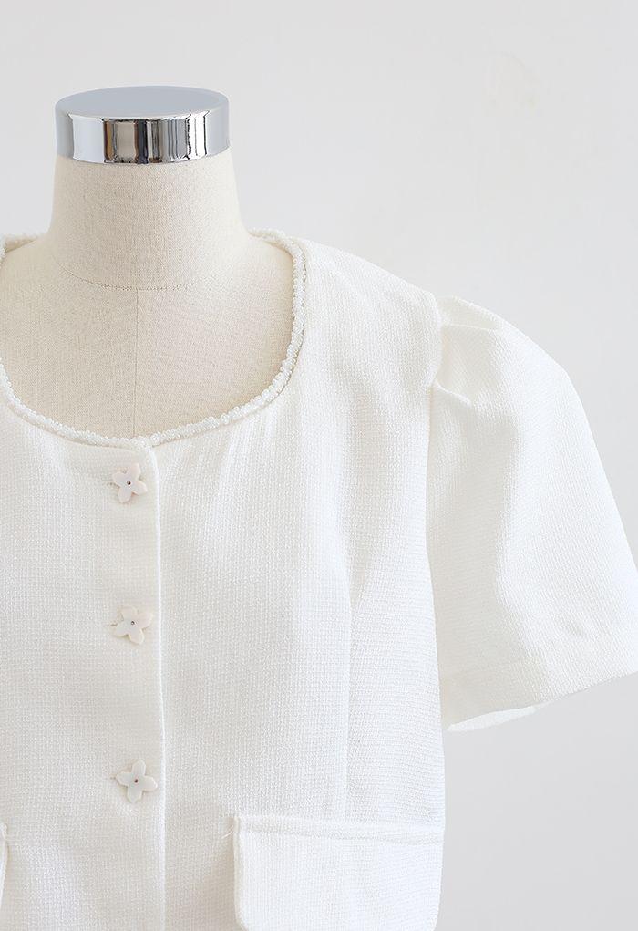 Gefälschter, geknöpfter, strukturierter Crop-Blazer in Weiß