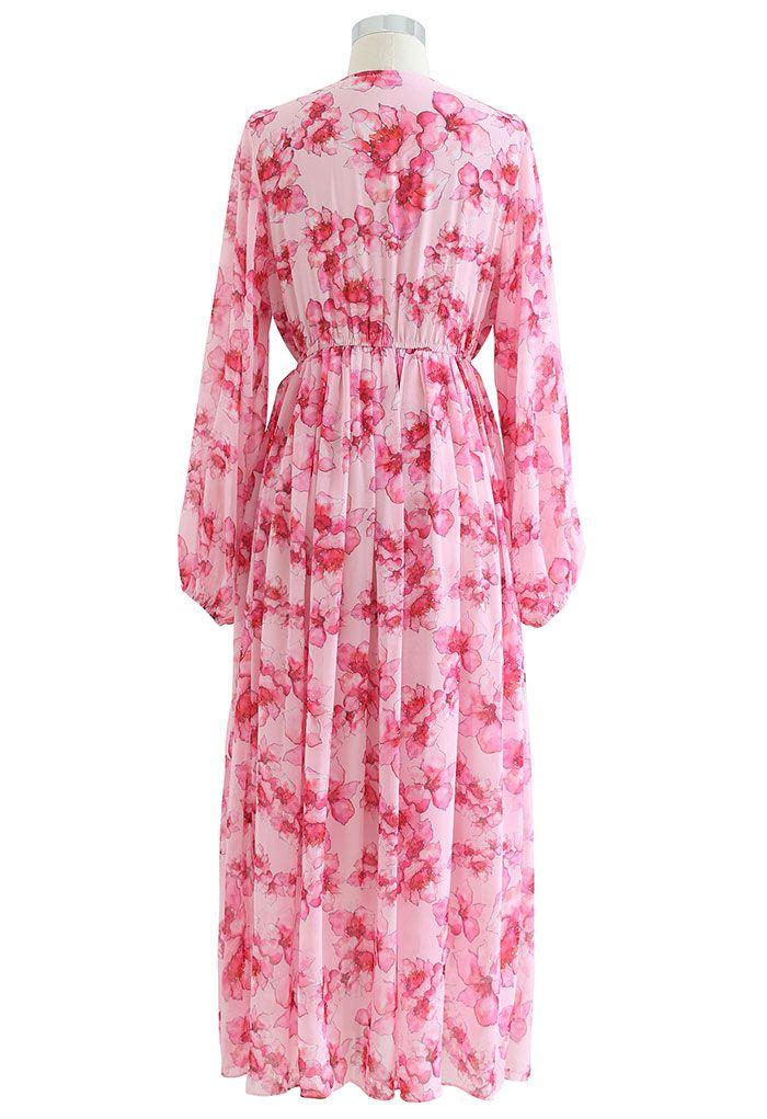 Zartes, gerafftes Maxikleid mit Blumenmuster in Hot Pink