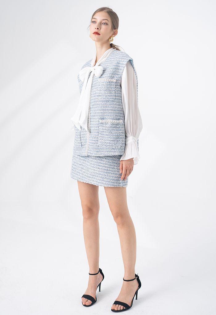 Pearly Edge Pocket Tweed Weste in Blau