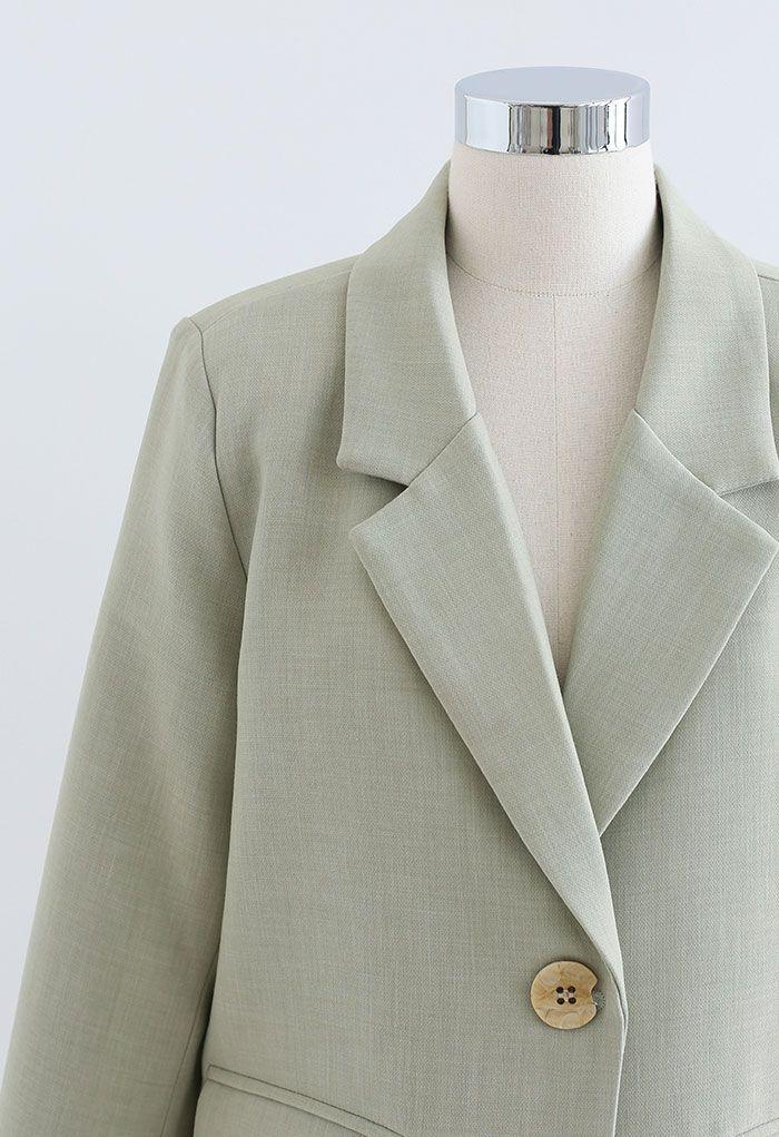 Einreihiger Blazer mit Pad-Schulter in Erbsengrün