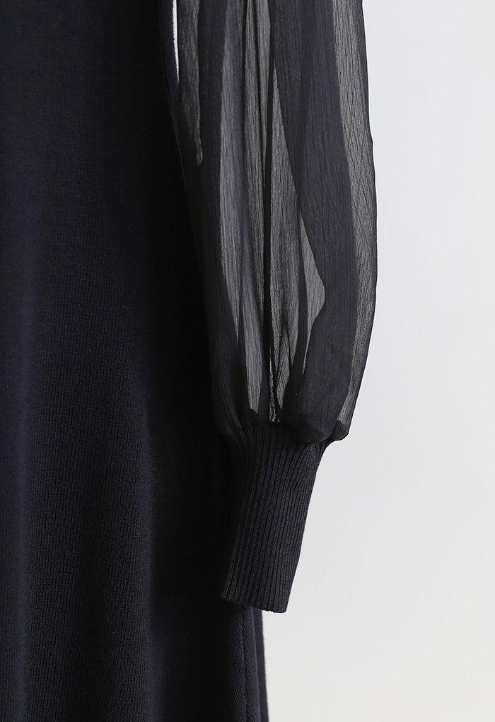 Pearly Bowknot Strickkleid mit Organzaärmeln in Schwarz