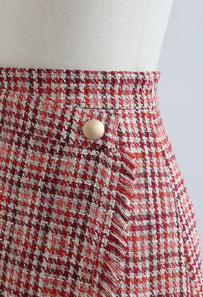 Tweed-Minirock mit Quasten und Hahnentrittmuster in Rot
