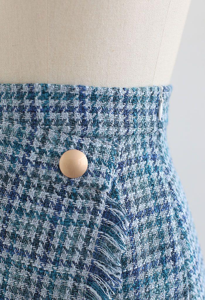 Tweed-Minirock mit Quasten und Hahnentrittmuster in Blau