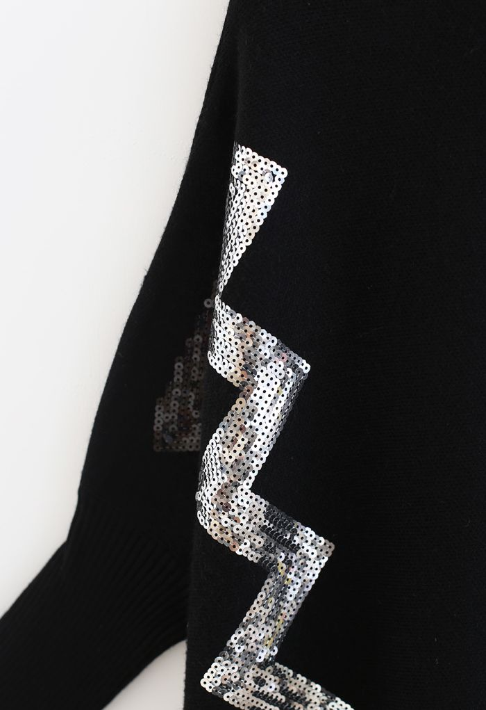 Zigzag Sequins Knit Cape Sweater in Black