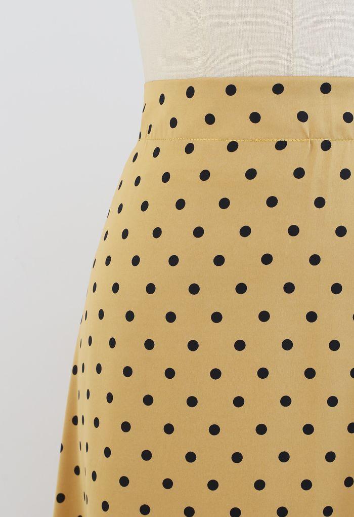 Polka Dots Midi Slip Rock in Gold