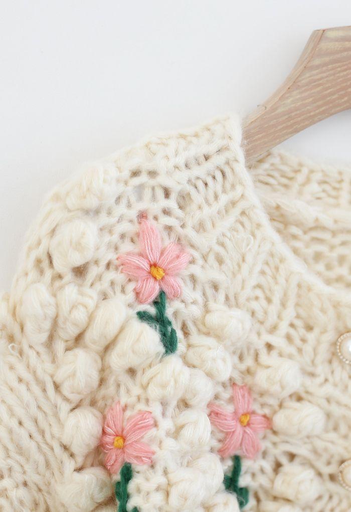 Stitch Floral Diamond Pom-Pom handgestrickte Strickjacke