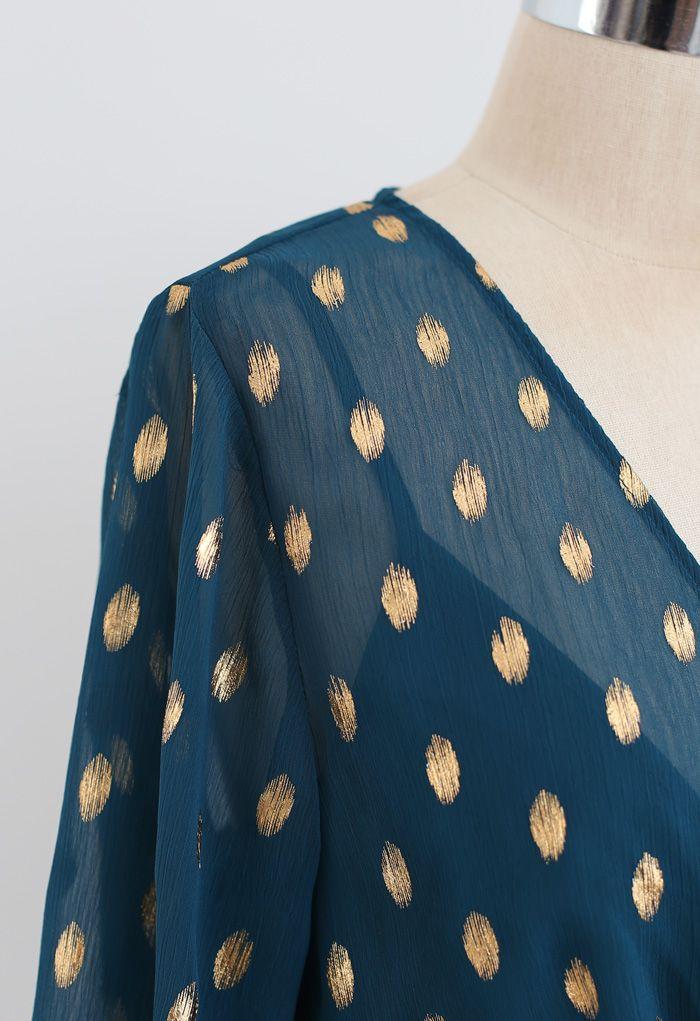 Oval Dots Semi-Sheer Split Wickelkleid in Smaragd