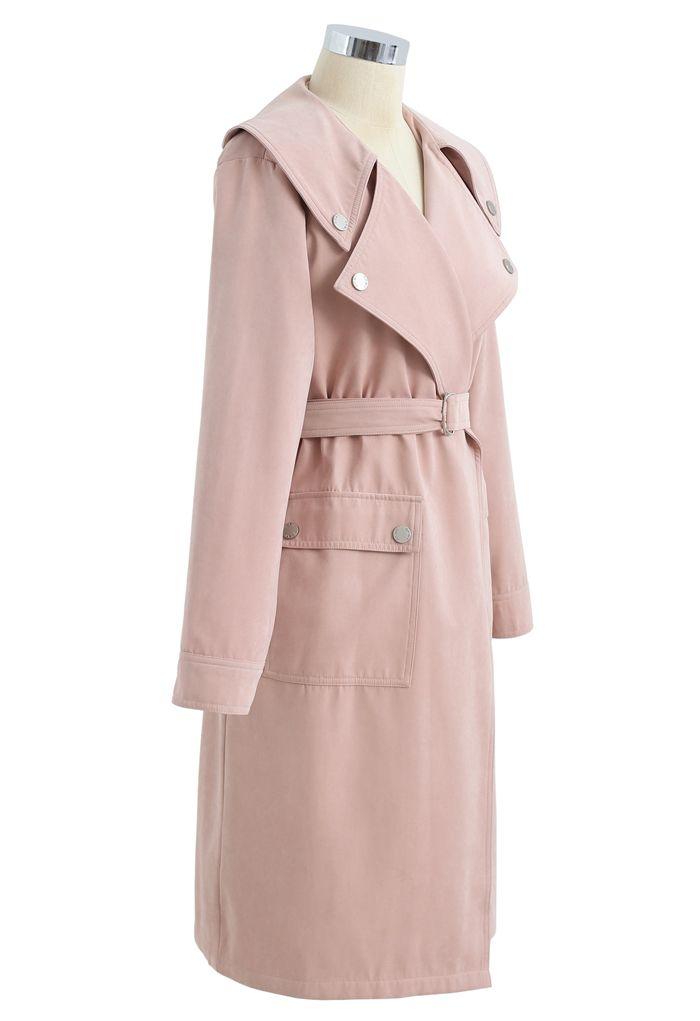 Trenchcoat aus Wildleder mit Taschengürtel in Dusty Pink