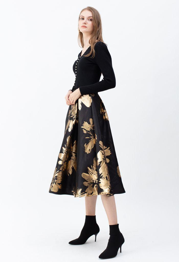 Goldener Blüten Jacquard A-Linie Midirock
