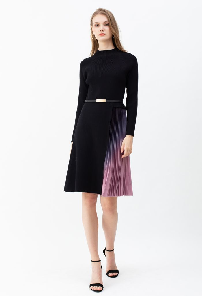 Gradient Plissee Spleißen Strickkleid mit Gürtel in Schwarz