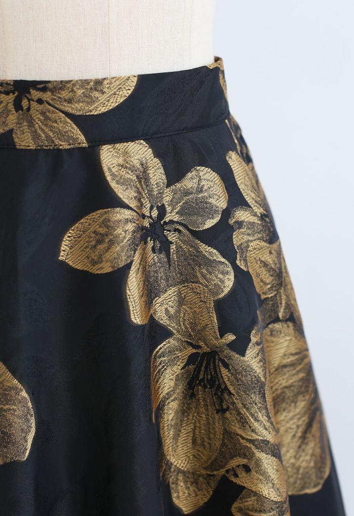 Goldener Dahlienblüten-Jacquard-Maxirock