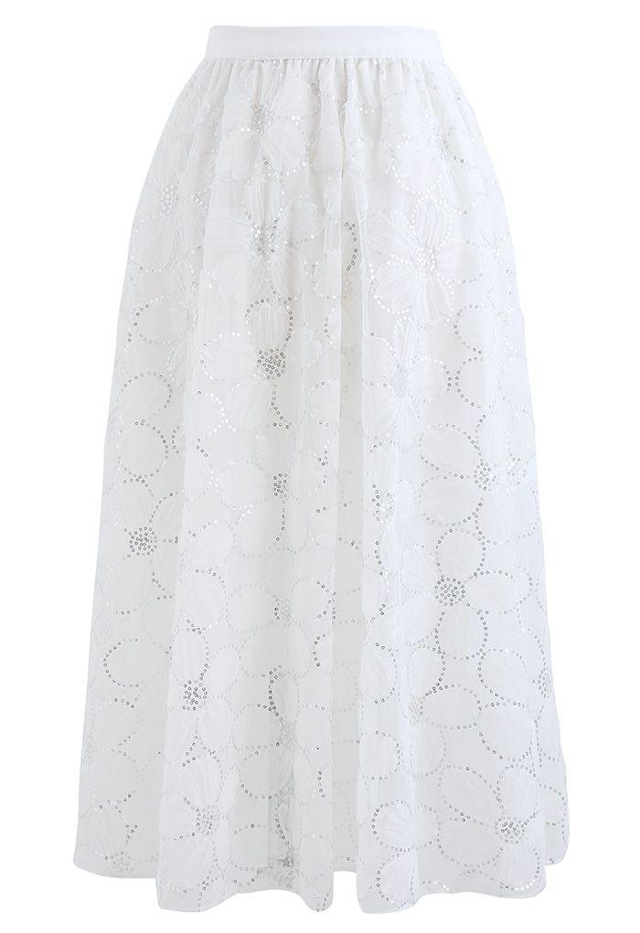 Blumen-Pailletten-Doppelschicht-Netzrock in Weiß