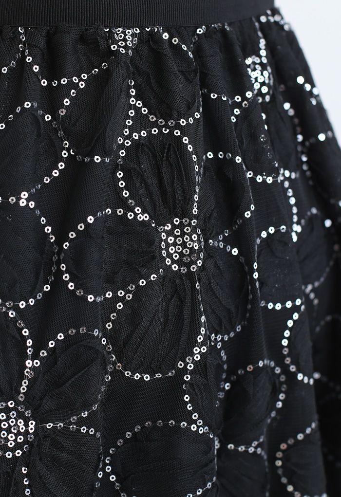 Blumen-Pailletten-Doppelschicht-Netzrock in Schwarz